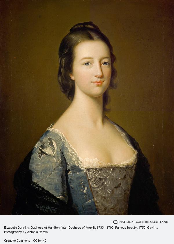 Gavin Hamilton, Elizabeth Gunning, Duchess of Hamilton (later Duchess of Argyll), 1733 - 1790. Famous beauty