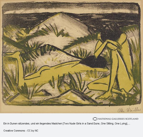 Otto Mueller, Ein in Dunen sitzendes, und ein liegendes Madchen [Two Nude Girls in a Sand Dune, One Sitting, One Lying]
