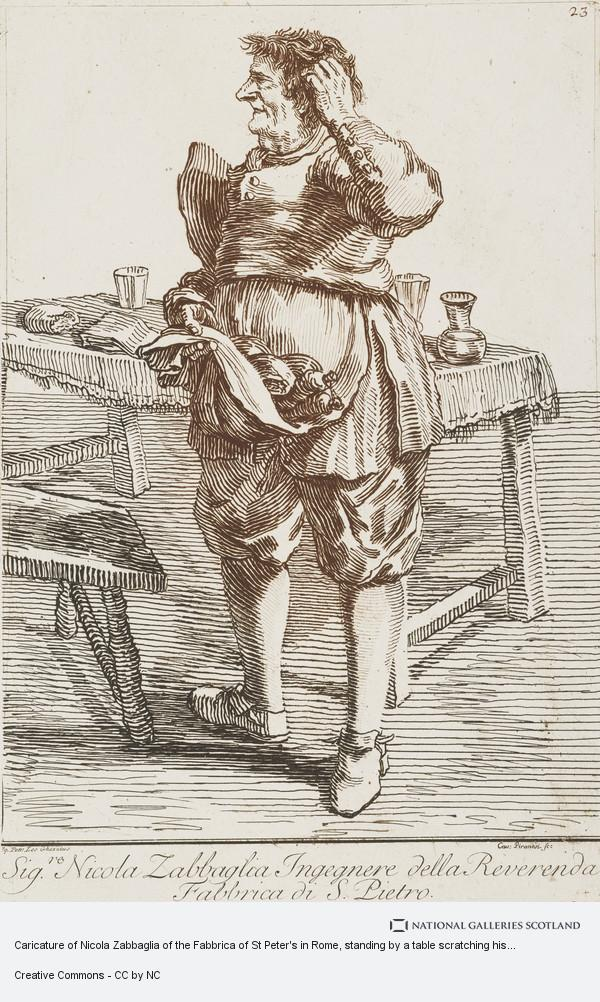 Giovanni Battista Piranesi, Caricature of Nicola Zabbaglia of the Fabbrica of St Peter's in Rome, standing by a table scratching his head