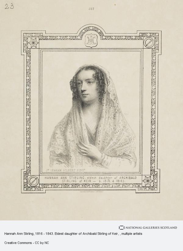 John Graham Gilbert, Hannah Ann Stirling, 1816 - 1843. Eldest daughter of Archibald Stirling of Keir