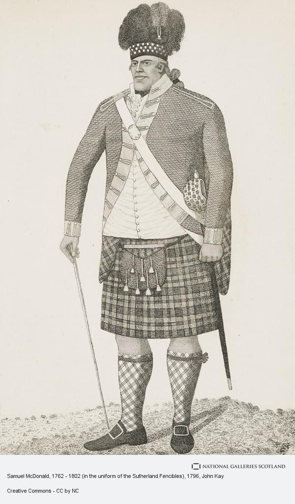 John Kay, Samuel McDonald, 1762 - 1802, in the uniform of the Sutherland Fencibles