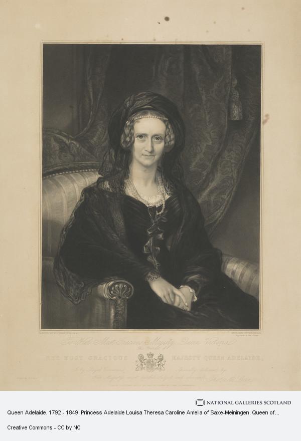 Henry Thomas Ryall, Queen Adelaide, 1792 - 1849. Princess Adelaide Louisa Theresa Caroline Amelia of Saxe-Meiningen. Queen of William IV