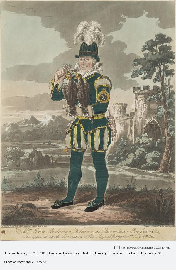 Isaac Robert Cruikshank, John Anderson, c 1750 - 1833. Falconer, hawksman to Malcolm Fleming of Barochan, the Earl of Morton and Sir Alexander Donne of Ochiltree
