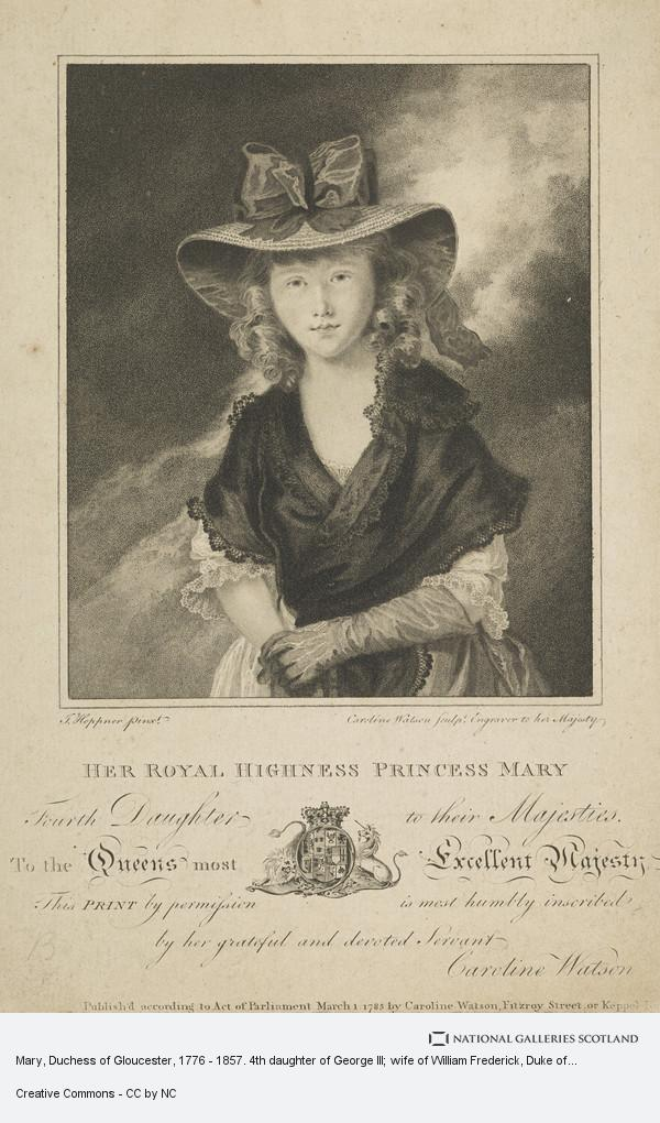 Caroline Watson, Mary, Duchess of Gloucester, 1776 - 1857. 4th daughter of George III; wife of William Frederick, Duke of Gloucester
