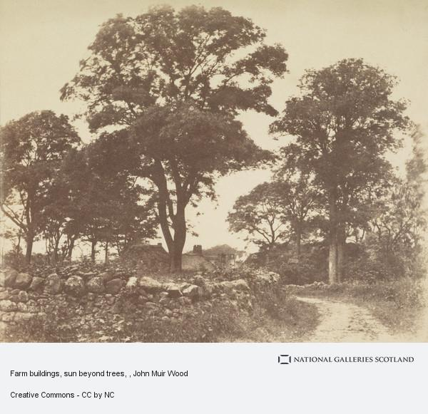 John Muir Wood, Farm buildings, sun beyond trees