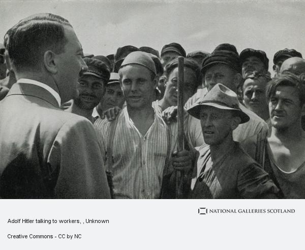 Unknown, Adolf Hitler talking to workers