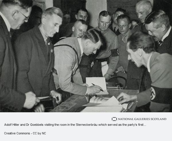 Unknown, Adolf Hitler and Dr Goebbels visiting the room in the Sterneckerbräu which served as the party's first office