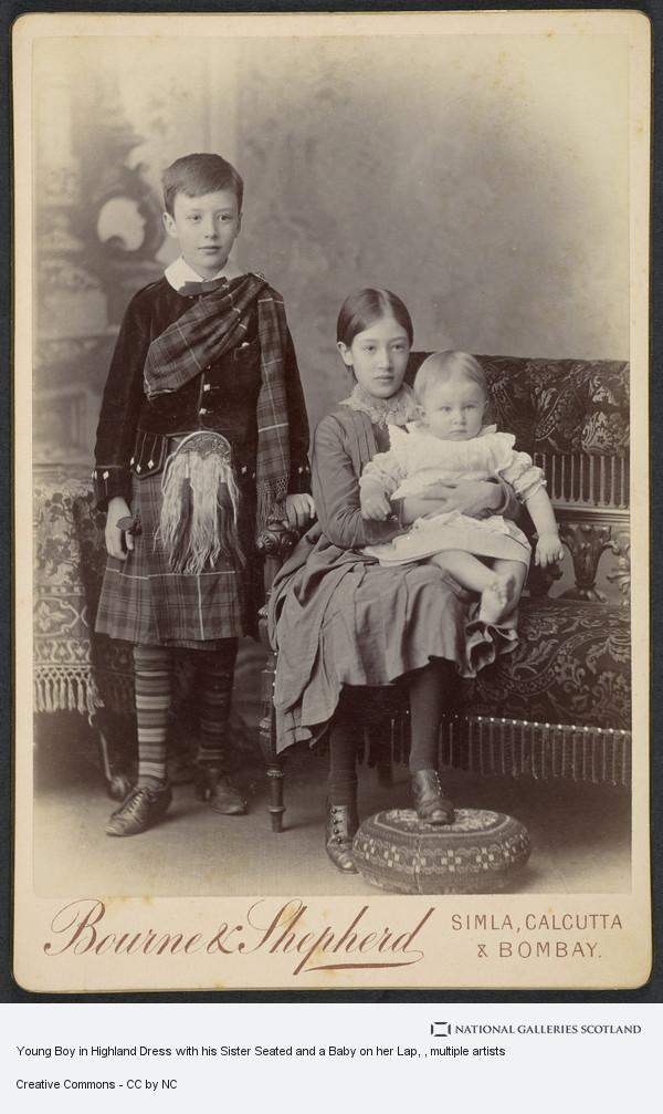 Samuel Bourne, Young Boy in Highland Dress with his Sister Seated and a Baby on her Lap