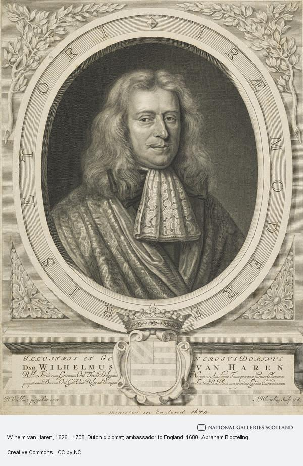 Abraham Blooteling, Wilhelm van Haren, 1626 - 1708. Dutch diplomat; ambassador to England