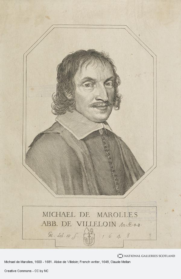 Claude Mellan, Michael de Marolles, 1600 - 1681. Abbe de Villeloin; French writer