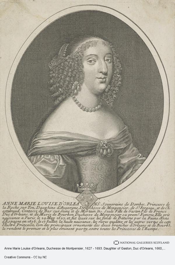 Nicolas de Larmessin, Anne Marie Louise d'Orleans, Duchesse de Montpensier, 1627 - 1693. Daughter of Gaston, Duc d'Orleans