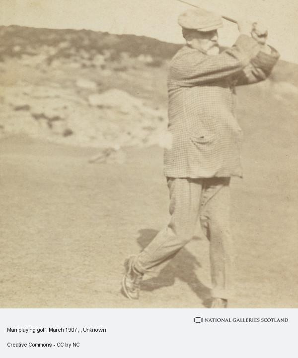Unknown, Man playing golf, March 1907