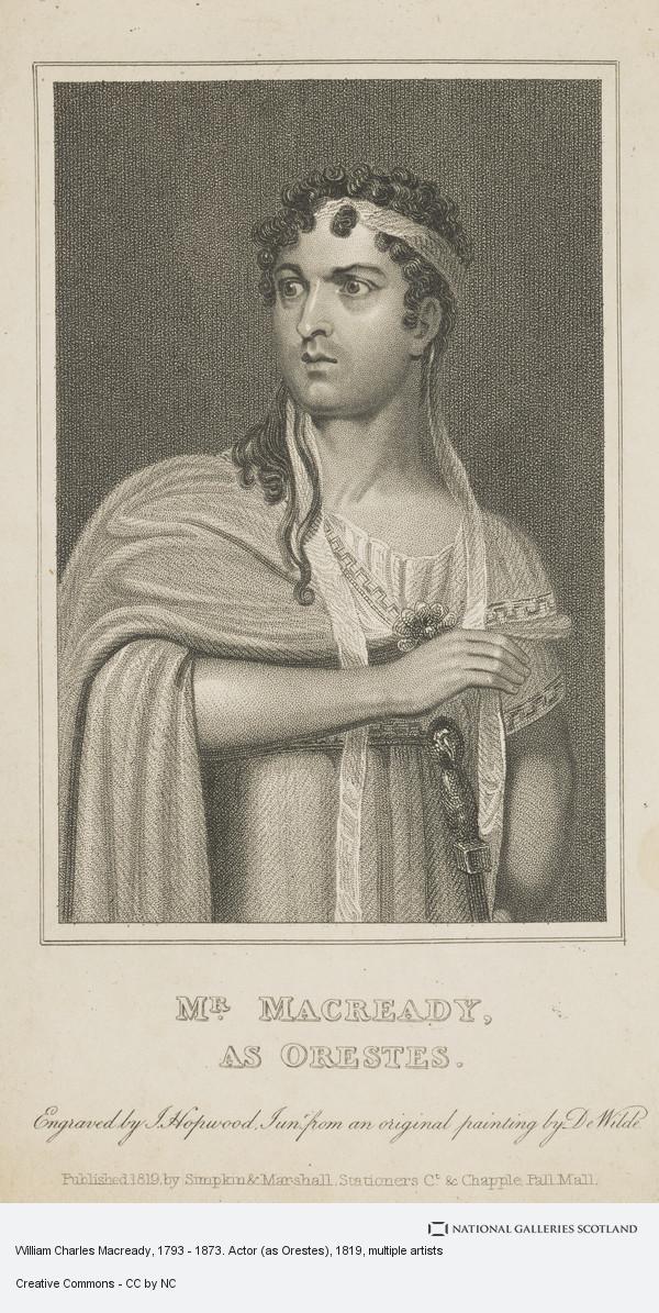 James Hopwood, William Charles Macready, 1793 - 1873. Actor (as Orestes)