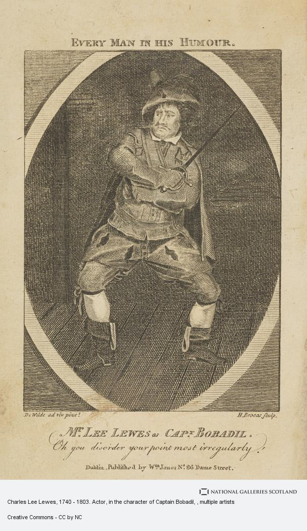 H. Brocas, Charles Lee Lewes, 1740 - 1803. Actor, in the character of Captain Bobadil