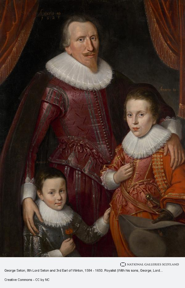 Adam de Colone, George Seton, 8th Lord Seton and 3rd Earl of Winton, 1584 - 1650. Royalist (With his sons, George, Lord Seton, 1613 - 1648 and Alexander, 1st...