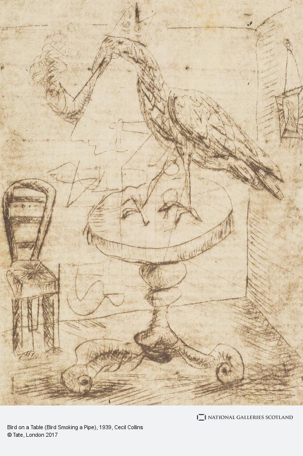 Cecil Collins, Bird on a Table (Bird Smoking a Pipe)