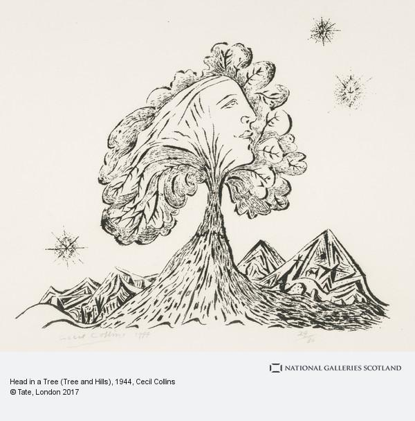 Cecil Collins, Head in a Tree (Tree and Hills)