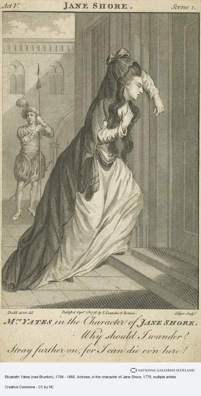 Dodd, Elizabeth Yates (nee Brunton), 1799 - 1860. Actress, in the character of Jane Shore