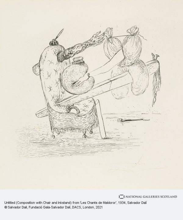 Salvador Dalí, Untitled (Composition with Chair and Inkstand) from 'Les Chants de Maldoror'