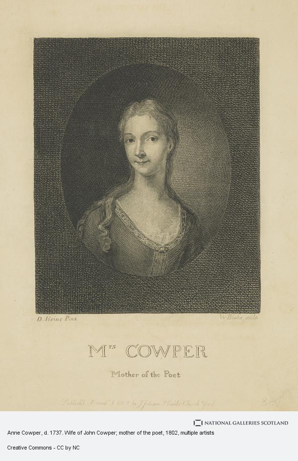 William Blake, Anne Cowper, d. 1737. Wife of John Cowper; mother of the poet
