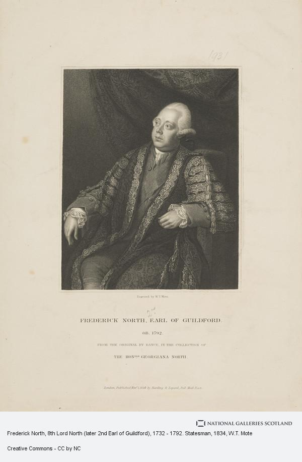 W.T. Mote, Frederick North, 8th Lord North (later 2nd Earl of Guildford), 1732 - 1792. Statesman