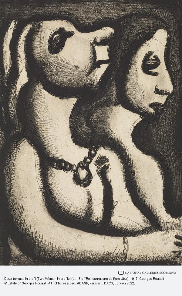 Georges Rouault, Deux femmes in profil [Two Women in profile] (pl. 18 of 'Reincarnations du Pere Ubu')