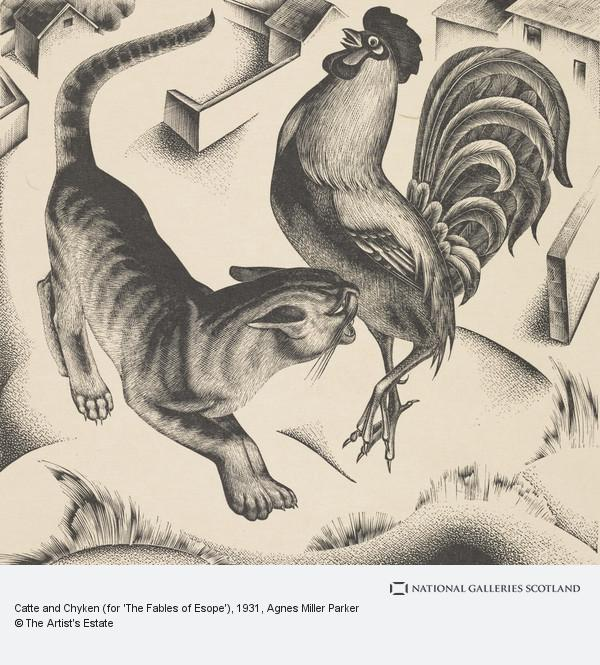 Agnes Miller Parker, Catte and Chyken (for 'The Fables of Esope')