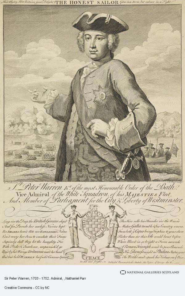 Nathaniel Parr, Sir Peter Warren, 1703 - 1752. Admiral