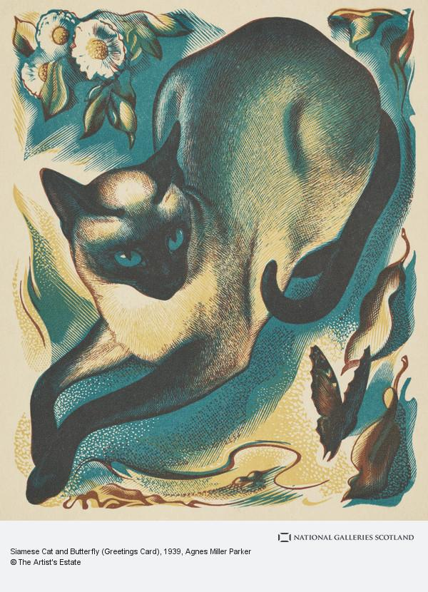 Agnes Miller Parker, Siamese Cat and Butterfly (Greetings Card)