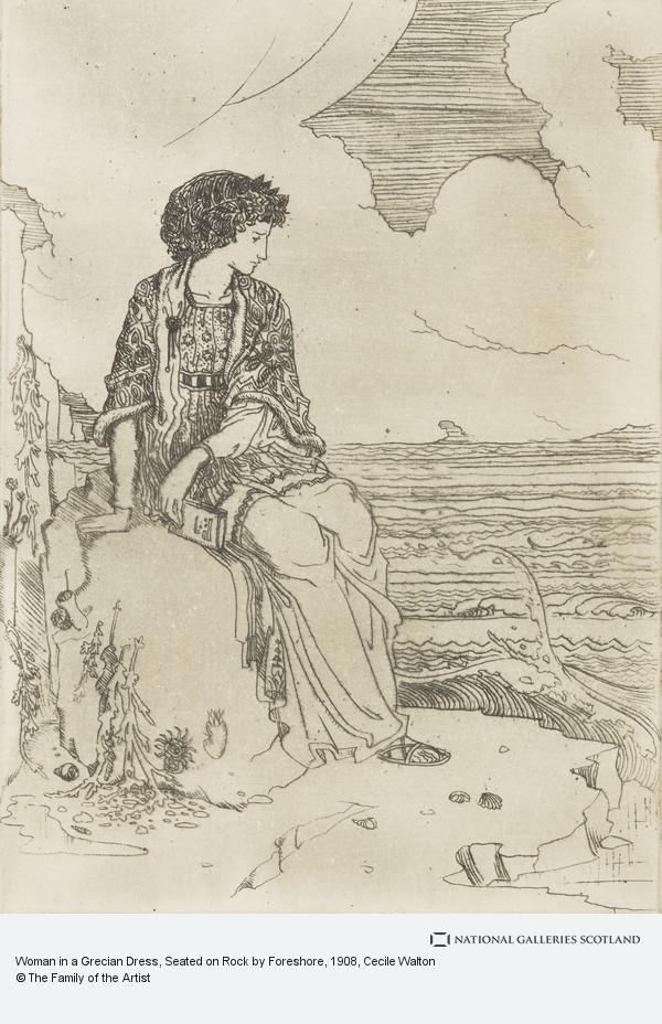 Cecile Walton, Woman in a Grecian Dress, Seated on Rock by Foreshore