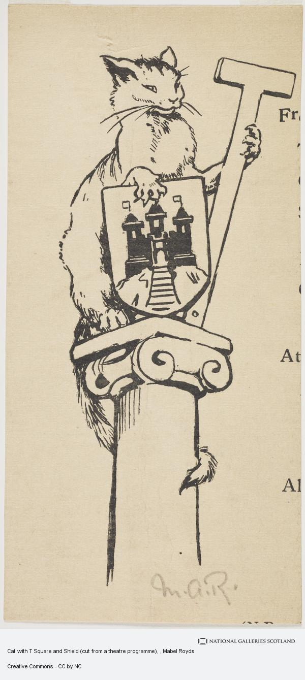 Mabel Royds, Cat with T Square and Shield (cut from a theatre programme)