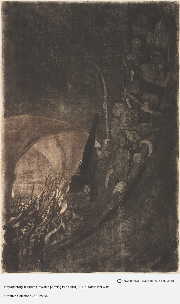 Kathe Kollwitz, Bewaffnung in einem Gewolbe [Arming in a Cellar]
