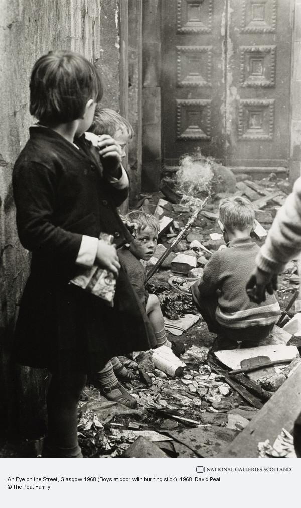 David Peat, An Eye on the Street, Glasgow 1968 (Boys at door with burning stick)