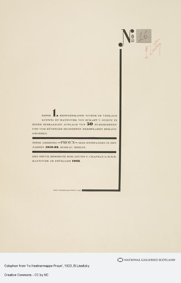 El Lissitzky, Colophon from '1o Kestnermappe Proun'