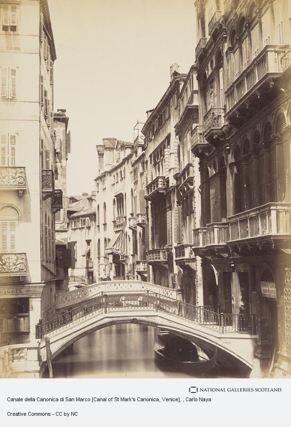 Canale della Canonica di San Marco [Canal of St Mark\'s Canonica ...