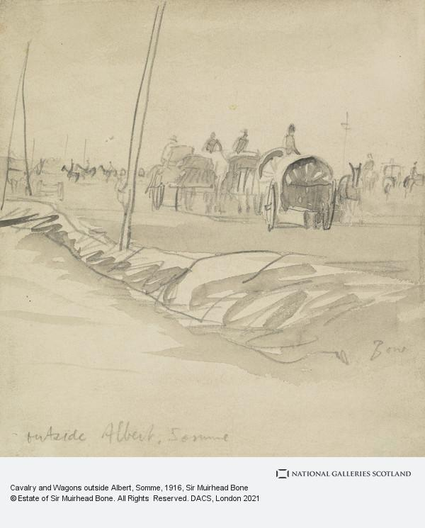 Sir Muirhead Bone, Cavalry and Wagons outside Albert, Somme