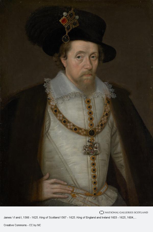 John de Critz, James VI and I, 1566 - 1625. King of Scotland 1567 - 1625. King of England and Ireland 1603 - 1625