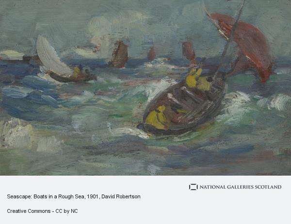 David Robertson, Seascape: Boats in a Rough Sea
