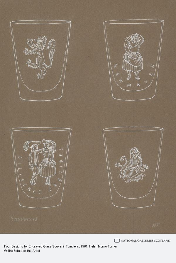 Helen Monro Turner, Four Designs for Engraved Glass Souvenir Tumblers