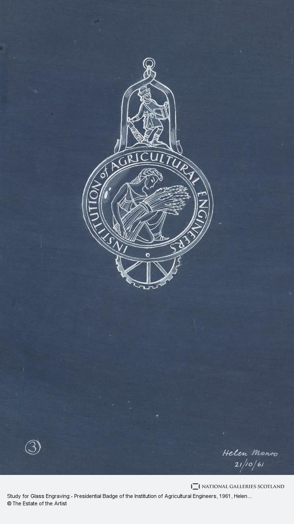 Helen Monro Turner, Study for Glass Engraving:- Presidential Badge of the Institution of Agricultural Engineers