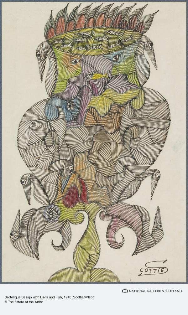 Scottie Wilson, Grotesque Design with Birds and Fish