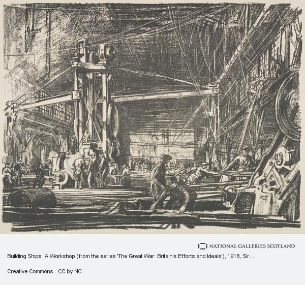 Sir Muirhead Bone, Building Ships: A Workshop (from the series 'The Great War: Britain's Efforts and Ideals')