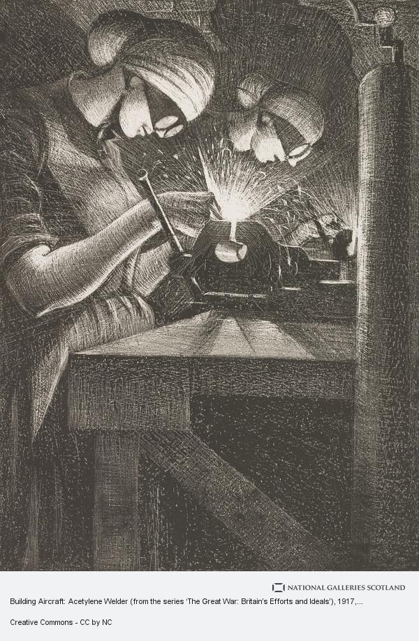 C.R.W Nevinson, Building Aircraft: Acetylene Welder (from the series 'The Great War: Britain's Efforts and Ideals')