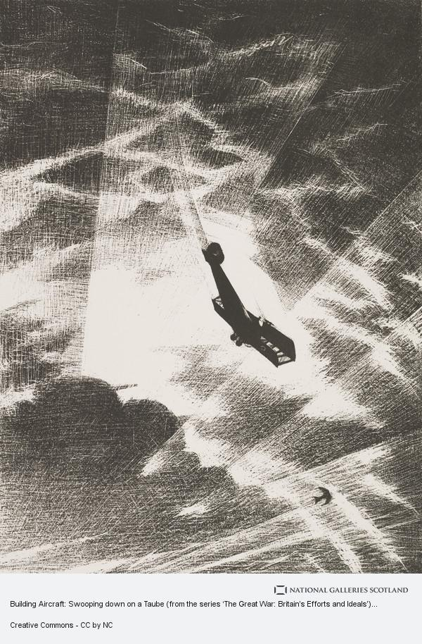 C.R.W Nevinson, Building Aircraft: Swooping down on a Taube (from the series 'The Great War: Britain's Efforts and Ideals')