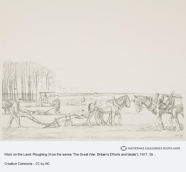 Sir William Rothenstein, Work on the Land: Ploughing (from the series 'The Great War: Britain's Efforts and Ideals')