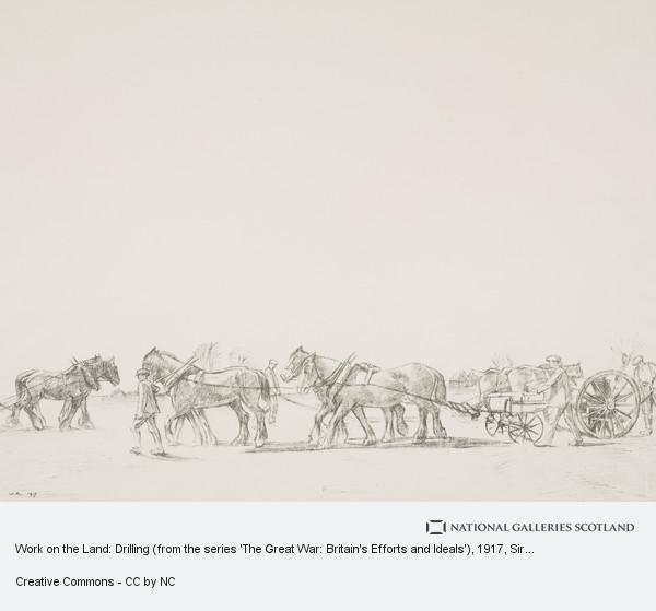 Sir William Rothenstein, Work on the Land: Drilling (from the series 'The Great War: Britain's Efforts and Ideals')