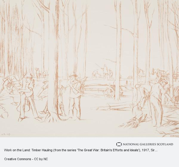 Sir William Rothenstein, Work on the Land: Timber Hauling (from the series 'The Great War: Britain's Efforts and Ideals')