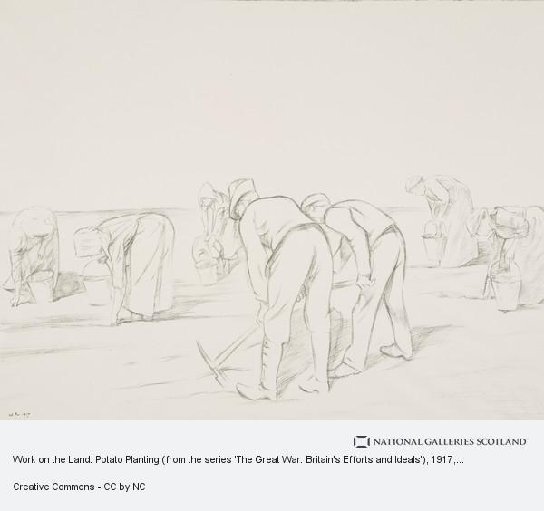 Sir William Rothenstein, Work on the Land: Potato Planting (from the series 'The Great War: Britain's Efforts and Ideals')
