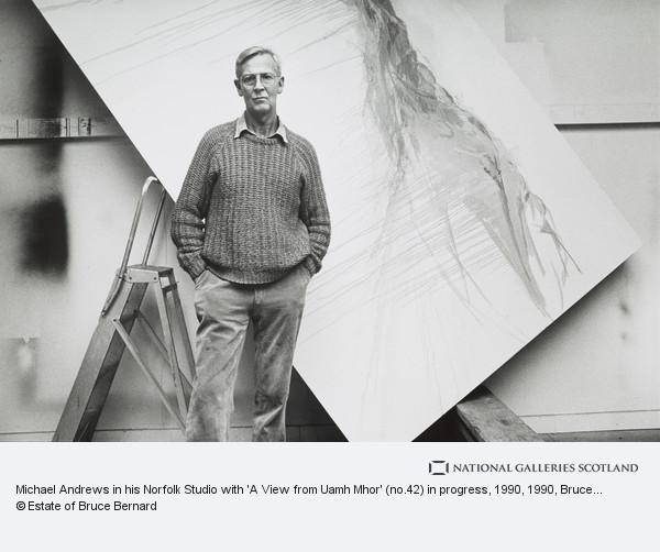 Bruce Bernard, Michael Andrews in his Norfolk Studio with 'A View from Uamh Mhor' (no.42) in progress, 1990