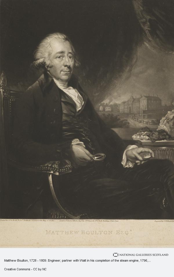 Samuel William Reynolds, Matthew Boulton, 1728 - 1809. Engineer; partner with Watt in his completion of the steam engine